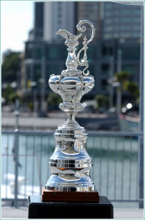 The America's Cup Trophy on display at the announc